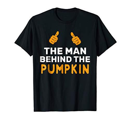 Mens The Man Behind The Pumpkin Halloween Pregnancy Father Shirt ()