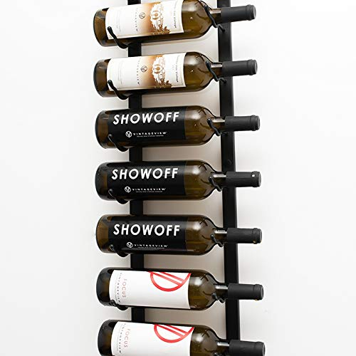 VintageView Wall Series (3 Ft) – 18 Bottle Wall Mounted Wine Rack (Satin Black) Stylish Modern Wine Storage with Label Forward Design