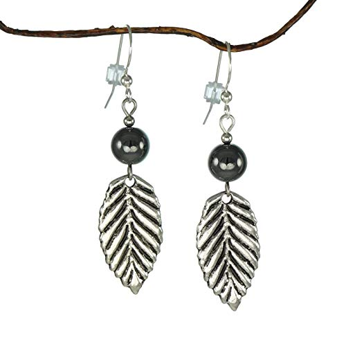 Beautiful Antique Pewter Leaf Hematite Earrings ()