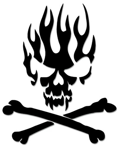 Death Skull Crossbones Fire Flame Vinyl Decal Sticker For Vehicle Car Truck Window Bumper Wall Decor - [6 inch/15 cm Tall] - Gloss WHITE Color