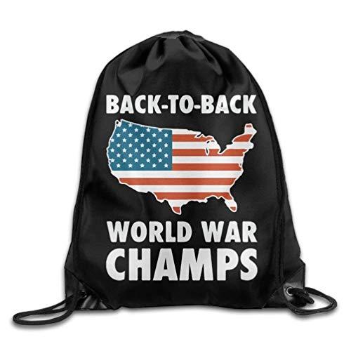 YINREN Back To Back World War Champs Drawstring Backpack Beam Mouth School Travel Backpack Rucksack Shoulder Bags For Men & Women