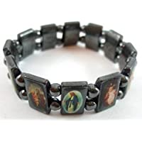 Hematite Black Flexible Bracelet with Saints Icons Mary / Jesus by Accessory