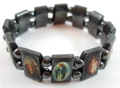 (Hematite Black Flexible Bracelet with Saints Icons Mary / Jesus by Accessory)