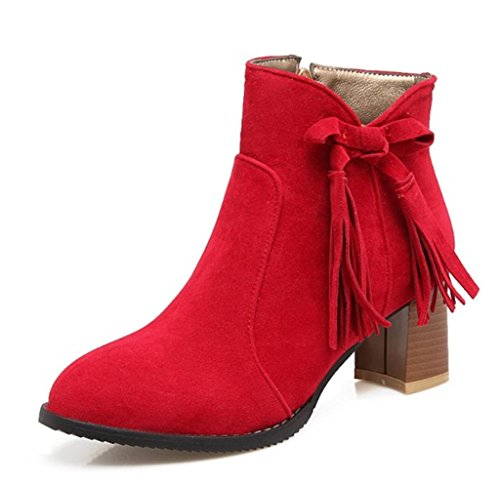 Ankle Size Kitzen Warm High Slouch Red Knee Biker Heel Knitted Boots Ladies Womens Mid Calf xRxqwpg4