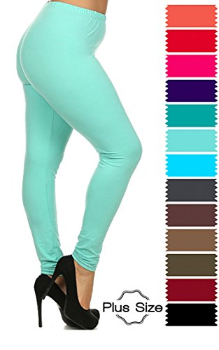 Women's Solid Ultra Soft and Stretchy Full Length Leggings Pants. Plus/Regular Sizes (S-XXL).Many Colors