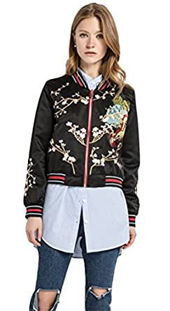 f0fb2071680 Amazon.com  ACE SHOCK Bomber Jacket Women Floral