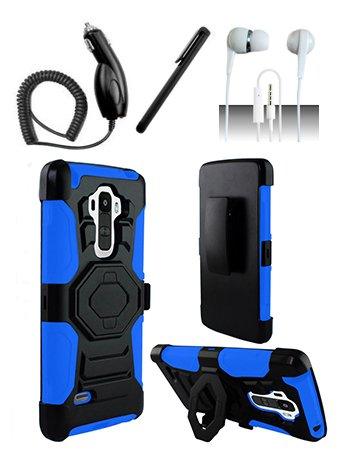 4 Items Combo For LG G Stylo LS770 Blue / Black Heavy Duty Hybrid Armor Style