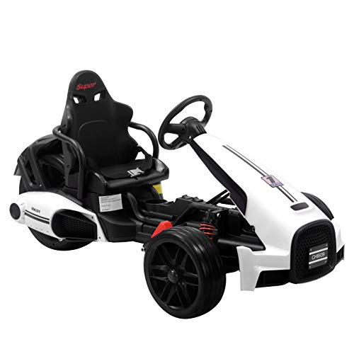 Uenjoy Electric Go Kart 12V Ride On Car Racing Car w/Gas Pedal, 2 Speed, Spring Suspension, Adjustable Steering Wheel, White