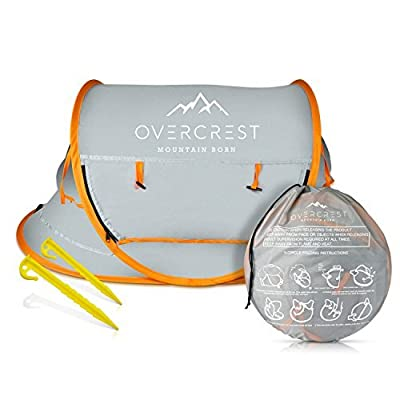 Overcrest Portable Beach Pop up Tent Babies, UPF 50+, Large Sun Shelter Infant Babies, Mosquito Net Sunshade, Lightweight Outdoor Travel Baby Crib Bed