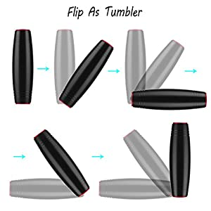 HITASION Flip Tumbler Desktop Toy Fidget Rolling Stick Toy for Kids Teens Adults (Black)