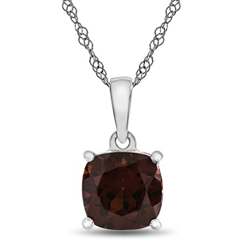 Finejewelers 10k White Gold 7mm Cushion Garnet Pendant Necklace