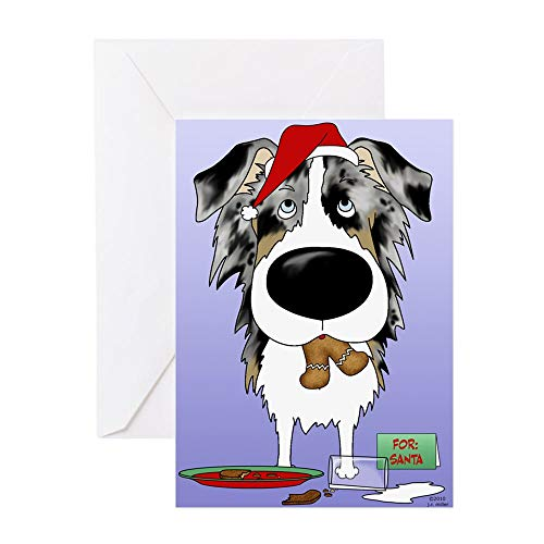 CafePress Aussie Santa's Cookies Greeting Card (10-pack), Note Card with Blank Inside, Birthday Card Glossy