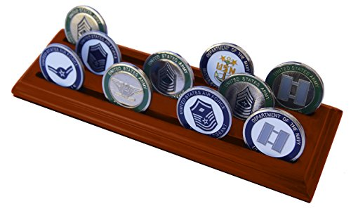 DECOMIL Military Collectible Challenge Coin Holder (Medium, 3 Rows) Solid Walnut
