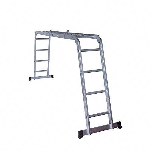 Idealchoiceproduct 15.5' Heavy Duty Gaint Aluminum Multi Purpose Folding Ladder Scaffold Ladders with 2 Platform Plates- 330Lbs by Idealchoiceproduct (Image #4)