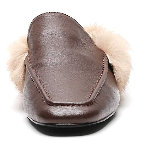 Marrone Tacco Foderato Donne Cuff Punta Simplec Allacciatura Semplice Confortevole Casual Piatto Pantofole Senza Fur Ox15qvfw8