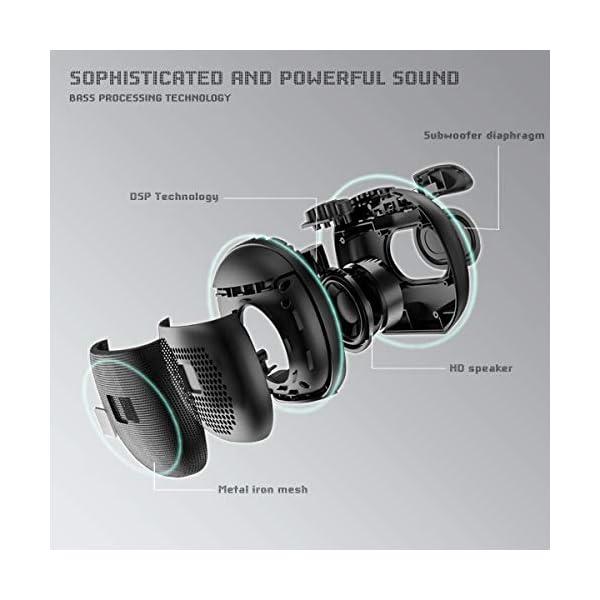 Enceinte Bluetooth Portable, Enceinte Bluetooth Waterproof IPX6, TWS HD Audio Haut Parleur Bluetooth 5.0 Pilote Double avec Son 360°, 12 Heures Autonomie Mains Libres Téléphone Support FM, USB, TF 2