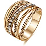 Shefashion Oxidized Gold Tone Vintage Crossover Statement Rings Crystal Costume Jewelry for Women Size 7-10 (8)