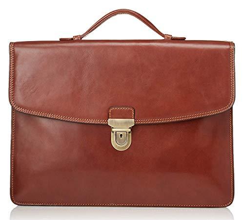 CUSTOM PERSONALIZED INITIALS ENGRAVING Tony Perotti Mens Italian Leather Alfero Single Compartment Document Briefcase in Cognac