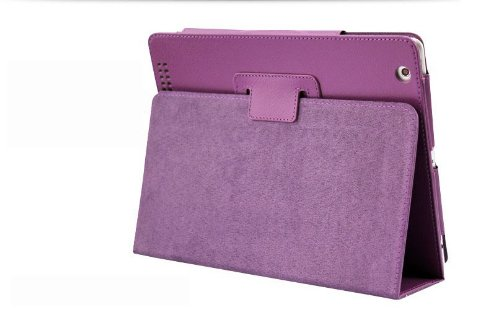 Price comparison product image Inshang Upgrade Version Super Slim Leather Look Case for Ipad 4,  Ipad 3,  Ipad 2 with Sturdy Photo Frame Style Stand,  Super Magnet to Maintain the Better Intelligent Auto Sleep Wake Function (s2zhe - purple)