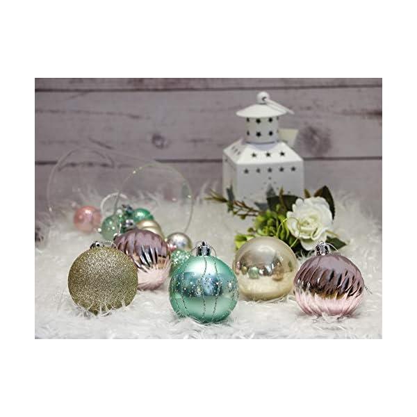 Valery Madelyn Palle di Natale 30 Pezzi 6cm Palline di Natale, Elegante Palazzo Verde Menta e Oro Rosa Infrangibile Ornamenti Palla di Natale Decorazione per Albero di Natale Decor 5 spesavip