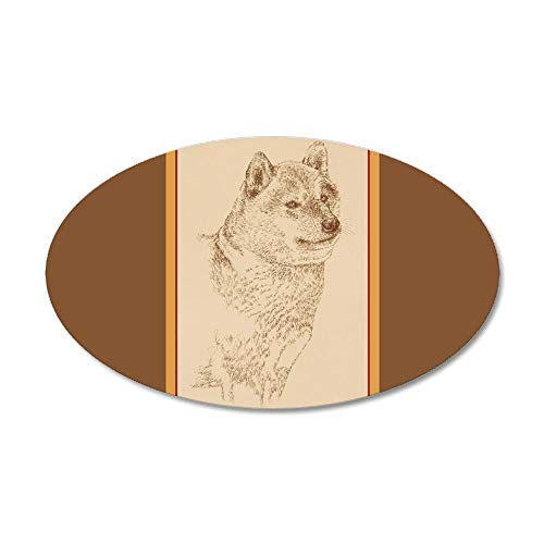 CafePress Shiba Inu 22X14 Oval Wall Peel 20x12 Oval Wall Decal, Vinyl Wall Peel, Reusable Wall Cling