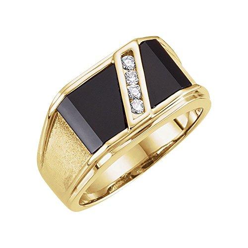 14k Yellow Gold Onyx & 1/8 Ct Diamond Men Gents Gemstone Ring