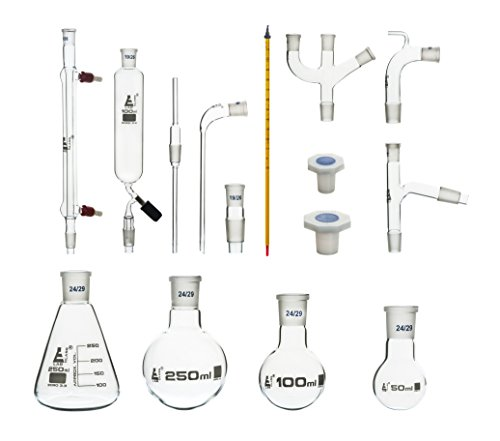 Eisco Labs Advanced Organic Chemistry Distillation Glassware Set, 17 Piece, 22 Interchangeable Fittings, Borosilicate Glass