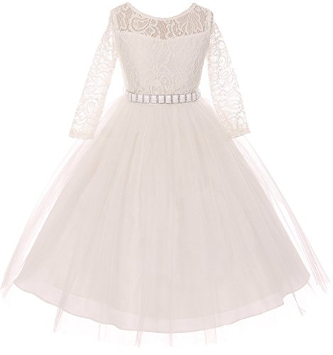 Little Girls Dress Lace Top Rhinestones Tulle Holiday Christmas Party Flower Girl Dress Off White Size 6 (M37BK2) ()
