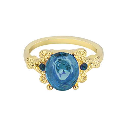 (SMALLE ◕‿◕ Women's Jewelry,Elegant Gold Filled Round Big Sapphire Fashion Ring-Beautiful Gift)