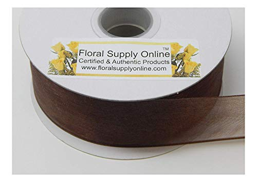 #9 Wired Edge Sheer Organza Ribbon for Floral, Fashion, Craft, Scrapbooking, Gift Wrapping, Hair Bows, Wedding, Baby Shower, and Decorating Projects. (1-1/2 Inch x 25 Yard, Chocolate)
