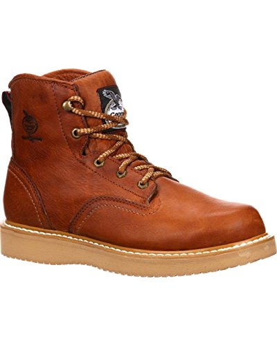 Georgia Men's 6'' Wedge Work Boot, Barracuda Gold, 10.5 W US