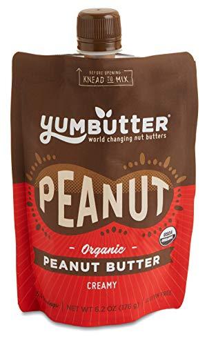 Organic Peanut Butter by Yumbutter - USDA Organic, Gluten Free, Vegan, Non-GMO, 6.2oz Pouch