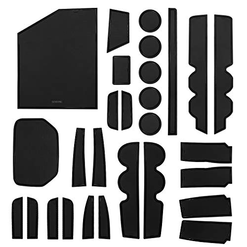 SENSHINE Console Liner Cup Liner for Toyota Tundra 2020 2019 2018 2017 2016 2015 2014 Door Mat Interior Accessories Kit(Bucket Seat, Black Trim) – 28PC Set