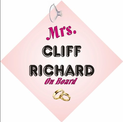MRS Cliff Richard CAR SIGN with Sucker