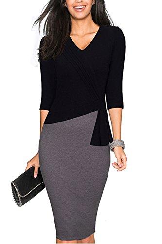 Elegante 3/4 Ärmel Vertrag Farbe Patchwork OL Kleid für Damen