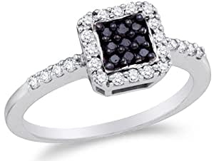 Size 4 - 10K White Gold White and Black Diamond Halo Engagement Ring OR Right Hand Fashion OR Promise Anniversary Band - Square Princess Shape Center Setting w/ Channel Set Round Diamonds - (.38 cttw)