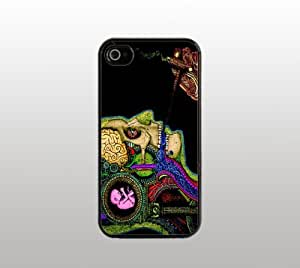 Psychedelic Smoking Hard Snap-On Case for iPhone 4 4s - Black - Cool Custom Cover - Smoke Trippy Drug Design wangjiang maoyi