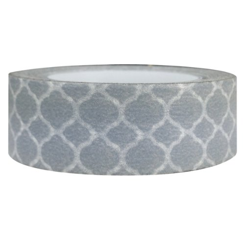 Wrapables Colorful Patterns Washi Masking Tape, Grey Marrakech (Pattern Decorative Masking Tape)