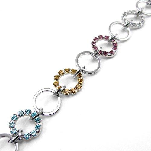 Glamorousky Elegant Circle Bracelet with Multi-color Austrian Element Crystal (560)
