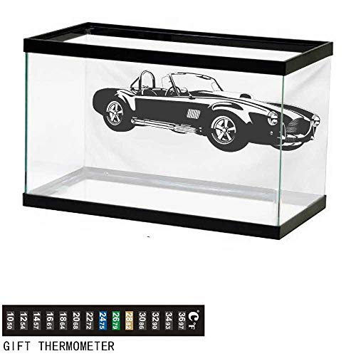 wwwhsl Aquarium Background,Cars,Silhouette Classic Sport Car Ac Cobra Roadster American Antique Engine Autosport,Black White Fish Tank Backdrop 30