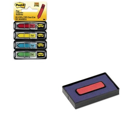 Economy Replacement Flags - KITCOS061797MMM684SH - Value Kit - Cosco Felt Replacement Ink Pad for 2000PLUS Economy Message Dater (COS061797) and Post-it Arrow Message 1/2amp;quot; Flags (MMM684SH)