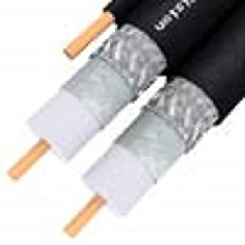 RG6 Cable Coaxial de enterramiento, cond. de cobre macizo doble w/GND PVC