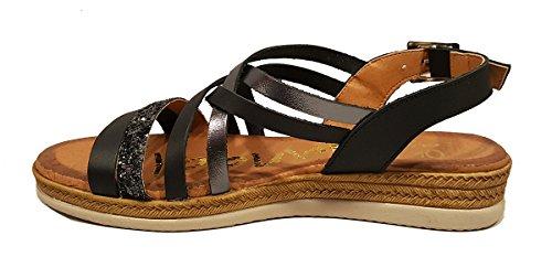 Oh my Sandals 3630 - Sandalia plana de Piel con piso de gel - Negro