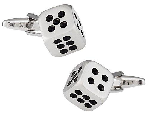 Dice Silver Cufflinks - Cuff-Daddy Gambling Dice Craps Cufflinks with Presentation Box