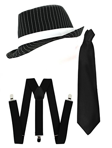 Ilovefancydress Men's Gangster Set Fancy Dress Accessory Costume Deluxe Kit Pinstripe Trilby Hat + Braces + Tie Mob Gangster Men Al Capone One Size Black