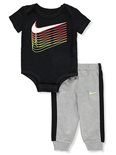 Nike Baby Boys' 2-Piece Pants Set Outfit - Black/Gray, 3 Months (Infant Boy Nike Clothing)
