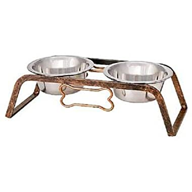 Loving Pets Black Label Collection Rustic Bone Diner for Dogs, 2-Quart, Aged Copper