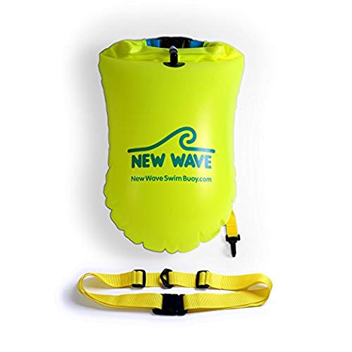 New Wave Swim Buoy - Swim Safety Float and Drybag for Open Water Swimmers, Triathletes, Kayakers and Snorkelers, Highly Visible Buoy Float for Safe Swim Training (Green PVC Large 20 Liter)