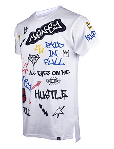 SCREENSHOTBRAND-S11863 Mens Hipster Hip-Hop Premiun Tees - Stylish Longline Fashion Allover Graffiti Print T-Shirts-White-Small