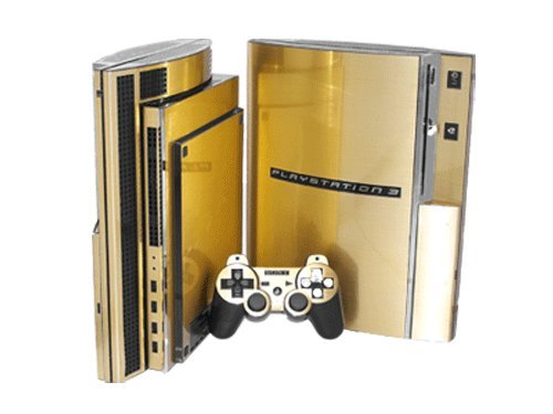 Sony PlayStation 3 Skin (PS3) - NEW - BRUSHED GOLD system skins faceplate decal mod